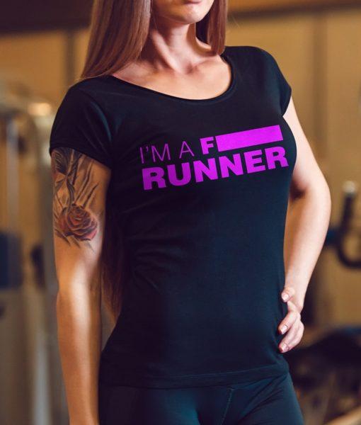Camiseta-Feminina-Gola-V-Cor-Preta-IM-A-F-RUNNER