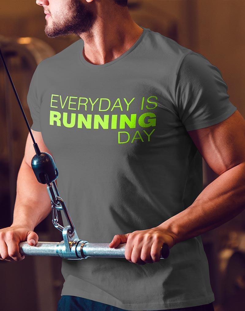 Camiseta-Masculina-Cor-Cinza-Mesclado-EVERYDAY-IS-RUNNING- 0dc1701f9760c